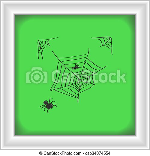 Simple doodle of a spiders web - csp34074554