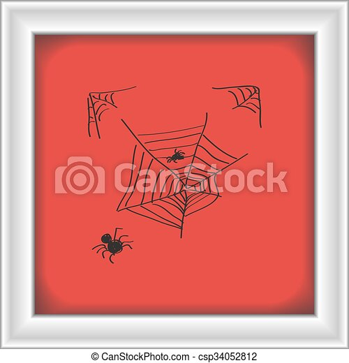 Simple doodle of a spiders web - csp34052812