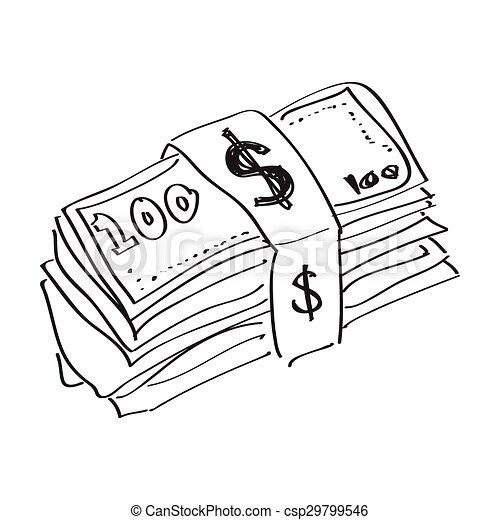Simple Doodle Of A Wad Of Bank Notes Simple Hand Drawn Doodle Of A