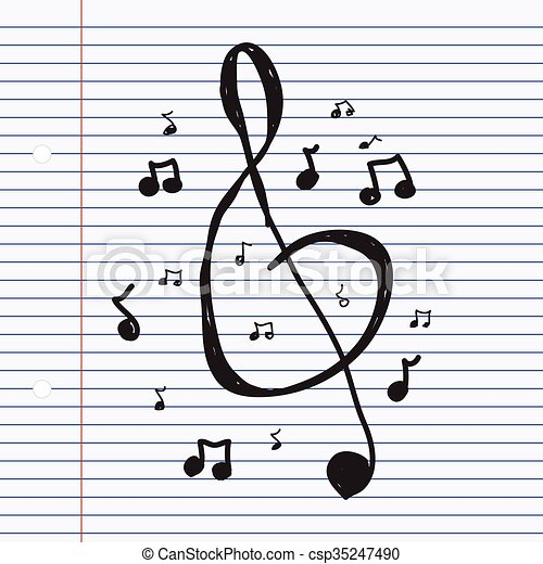 Simple Doodle Of Music Symbols Simple Hand Drawn Doodle Of Eps