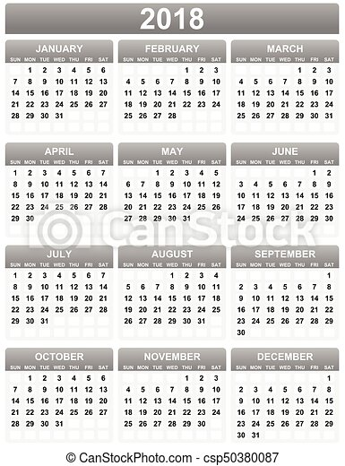 Calendario Vector Blanco.Simple Editable 2018 Year Vector Calendar On White Background In Eps 10