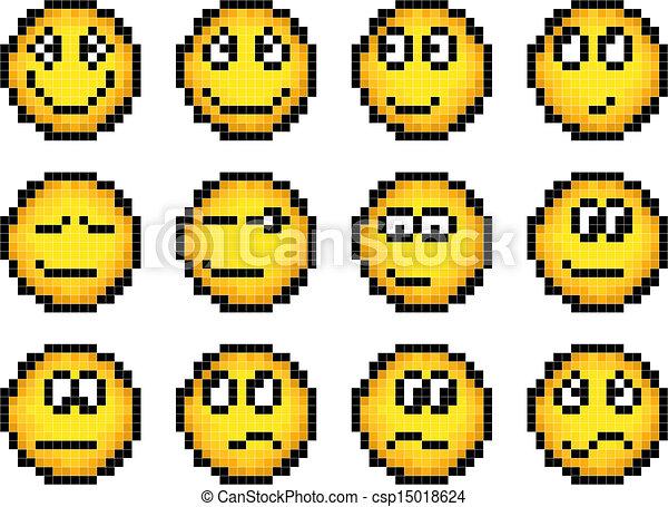Simple Ensemble Jaune Smiley Pixel