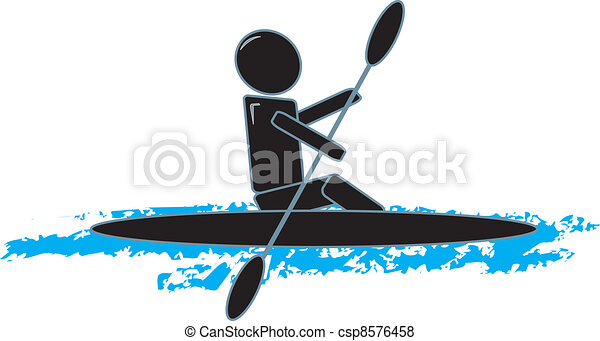 Drawing Of A Simple Figure Kayaking Vector