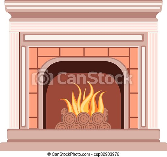 Simple fireplace design. Element of the interior living ...