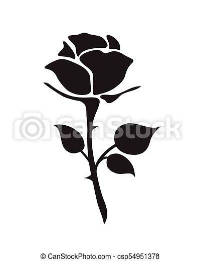Simple Flat Black Rose Vector Hand Drawn Romance Flower Icon