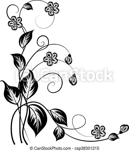 Simple Floral Background In Black And White With Place For Your Text