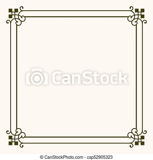 Simple Frame With Decorative Corners On Light Brown Background