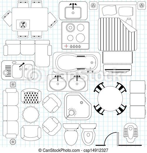 Simple Furniture / Floor Plan  - csp14912327