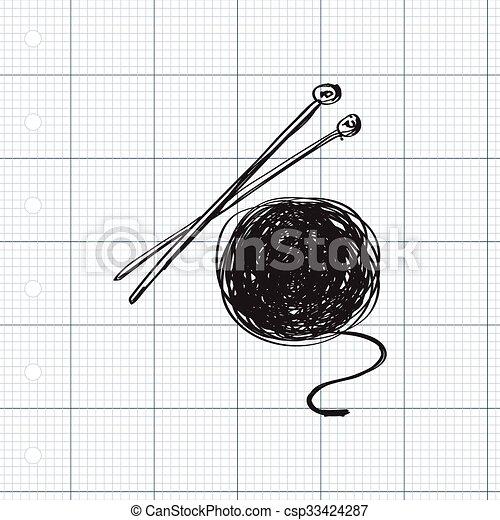 Un simple garabato de lana y agujas de tejer - csp33424287