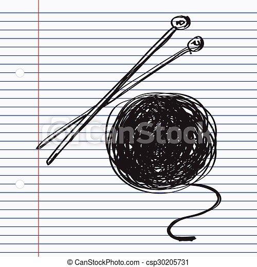 simple, garabato, agujas, tejido de punto, lana - csp30205731