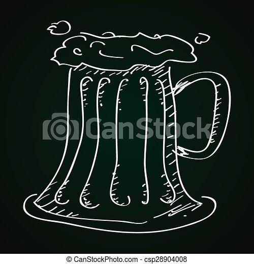 Un simple garabato de un vaso de cerveza - csp28904008