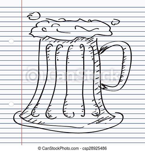 Un simple garabato de un vaso de cerveza - csp28925486