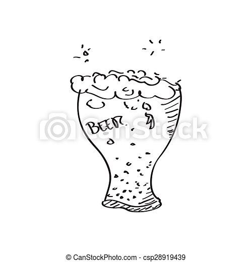 Un simple garabato de un vaso de cerveza - csp28919439