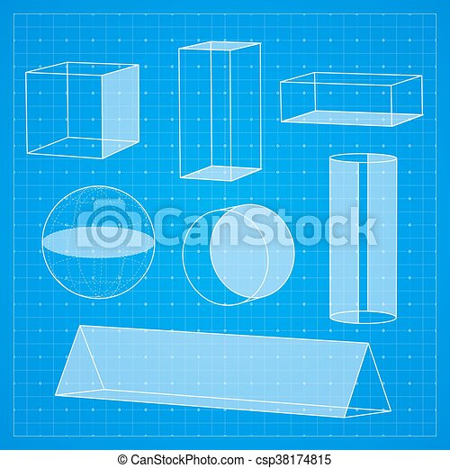 Simple geometric shapes on blueprint background vector illustration malvernweather Image collections