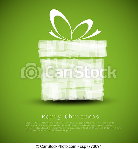 Simple green Christmas card with a gift - csp7773094