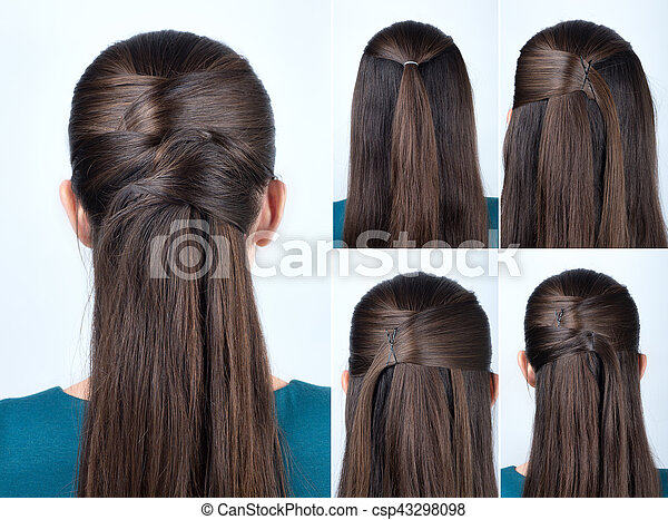 Simple hairstyle tutorial. Simple half-up hairstyle with pins ...