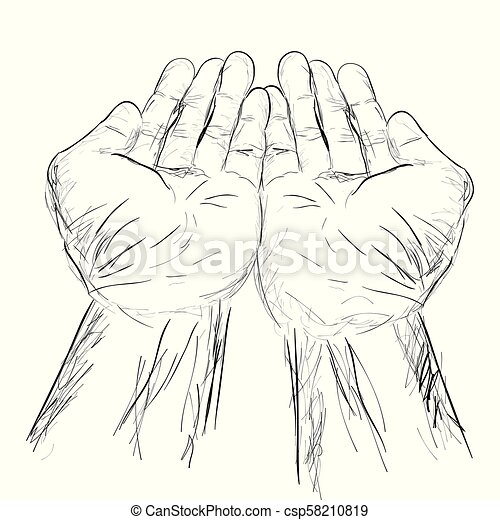 Vector Simple Hand Draw Sketch Praying Hand