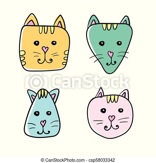 Simple Hand Drawn Cartoon Cat Face Icon Four Color Variations On