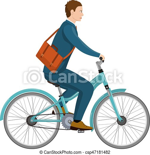 Simple homme affaires v lo dessin anim quitation plat isol illustration bicycle - Dessin velo facile ...