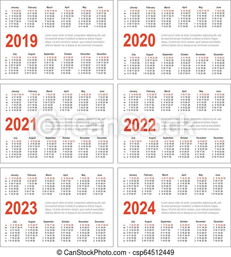 2022 2023 Pocket Calendar.Simple Horizontal Calendar For 2019 2020 2021 2022 2023 And 2024 Years Pocket Calendars Week Starts From Sunday Canstock