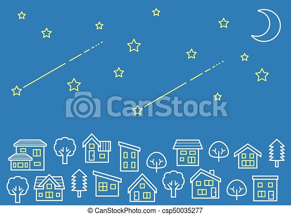 Line Drawing Vector Graphics : Simple house and tree line drawing stars moon vectors