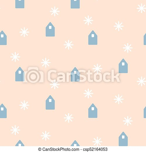 Simple houses shapes on pale pink background. - csp52164053
