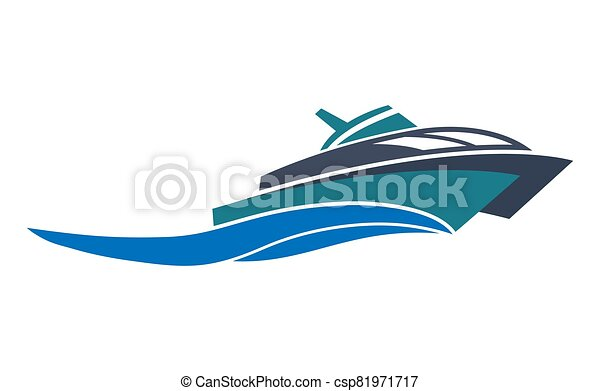 Simple icon, flat logo of a boat, ferry or ship isolated on a white background - csp81971717