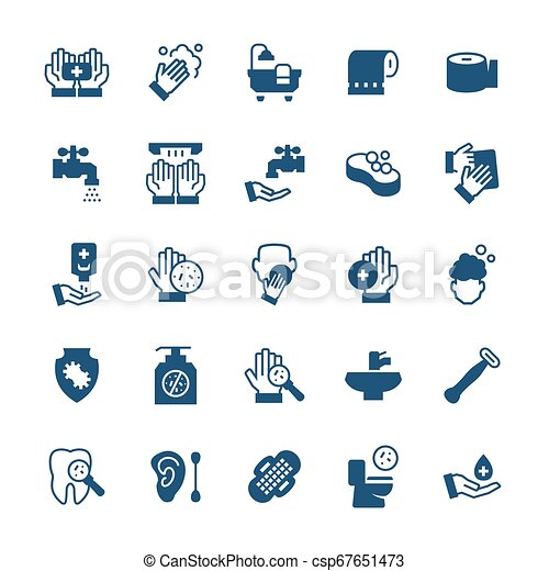 Simple icon set of hygiene items in flat style. Vector symbols. - csp67651473