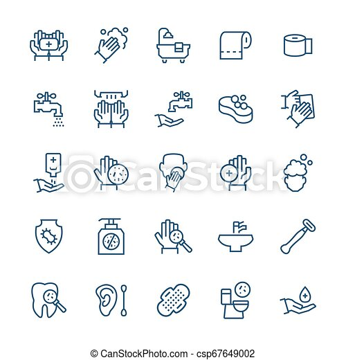 Simple icon set of hygiene items in thin line style. Vector symbols. - csp67649002