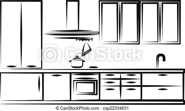 simple kitchen drawing. Simple Illustration Of Kitchen Furniture Drawing C