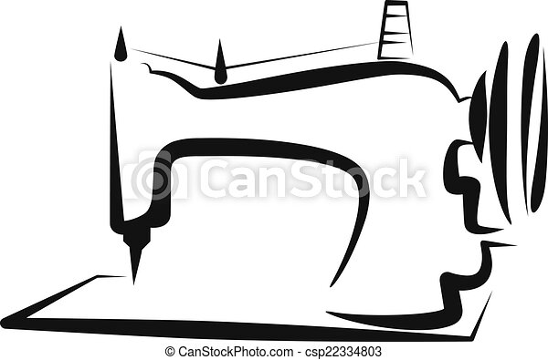 Simple illustration with a sewing-machine - csp22334803