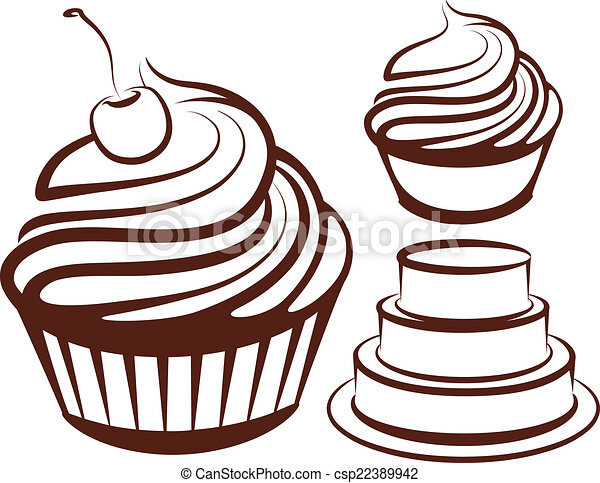 simple illustration with desserts  - csp22389942