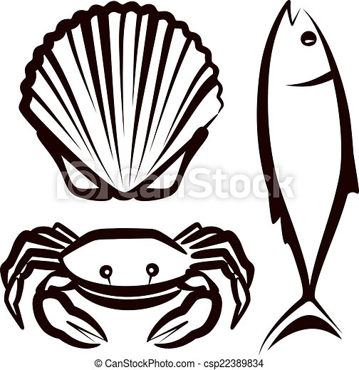 simple illustration with seafood vectors search clip art rh canstockphoto com