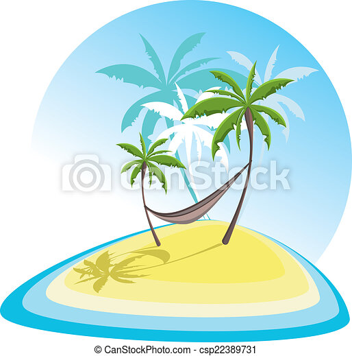 simple illustration with tropical island  - csp22389731