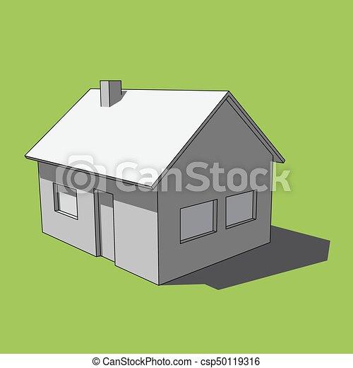 Simple Image Grayscale Isolé Maison 3d