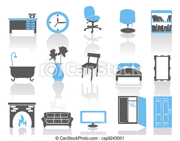 simple interior furniture icons set,blue series - csp9243001