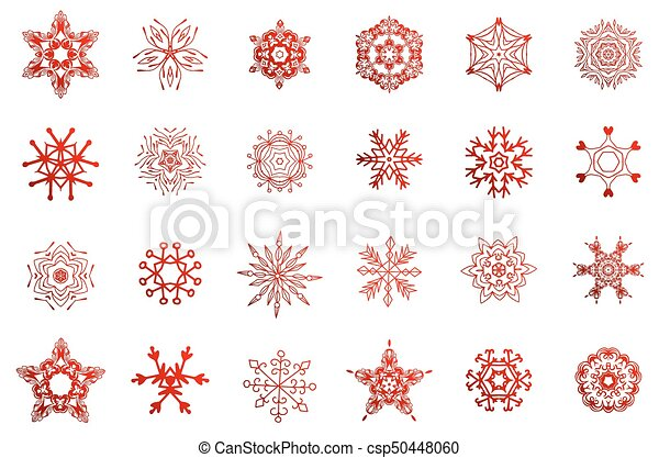 Simple, invierno, copos de nieve. Conjunto, copos de nieve ...