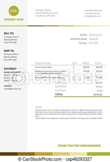 Simple Invoice Template Vector Minimalist Invoice Template