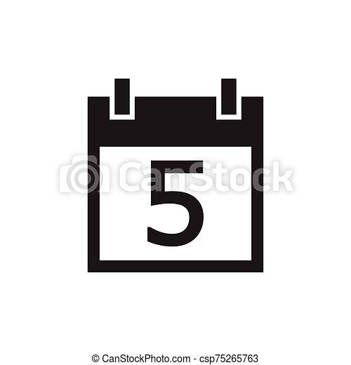 simple kalender icon black color - csp75265763
