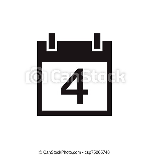 simple kalender icon black color - csp75265748