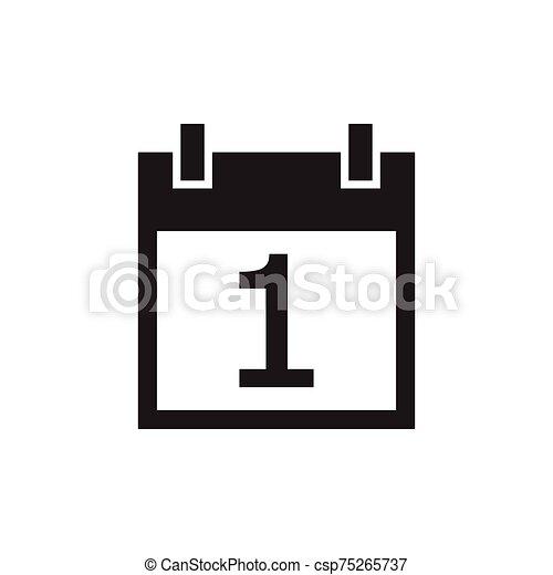 simple kalender icon black color - csp75265737