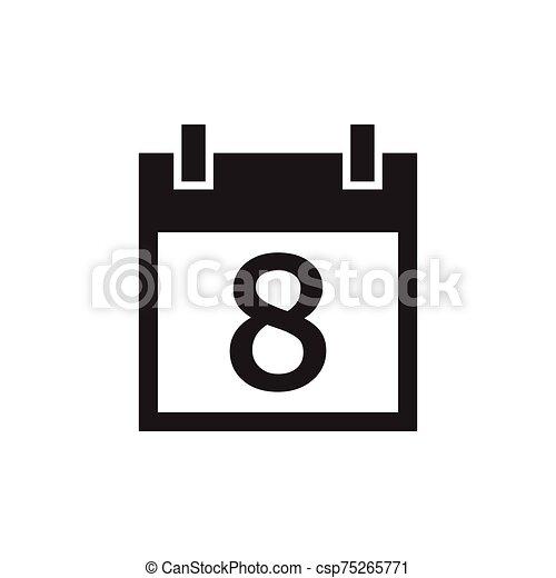 simple kalender icon black color - csp75265771