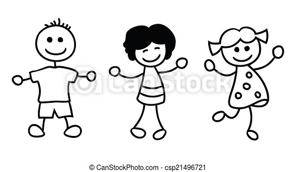 simple kids playing cartoon illustration - Simple Cartoon Drawings For Kids