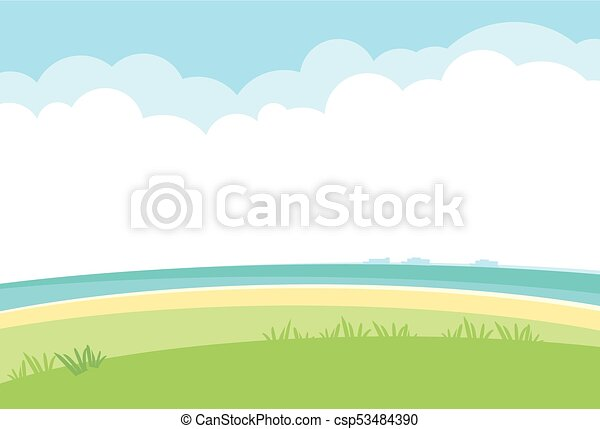 Simple landscape vector background. nature template with sea, grass ...