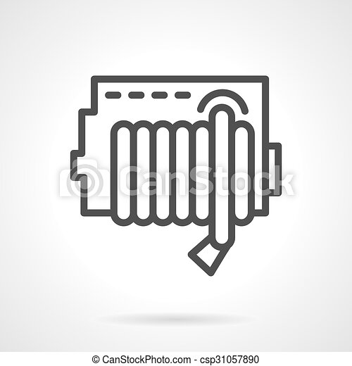 Simple line fire hose reel vector icon. - csp31057890