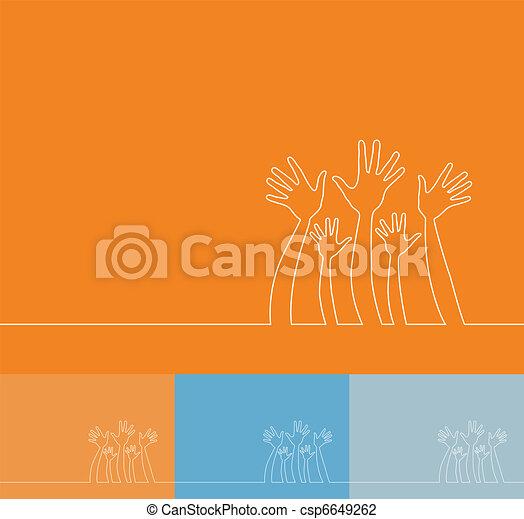 Simple line illustration of hands. - csp6649262