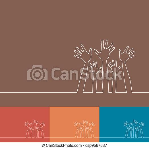Simple line illustration of hands. - csp9567837
