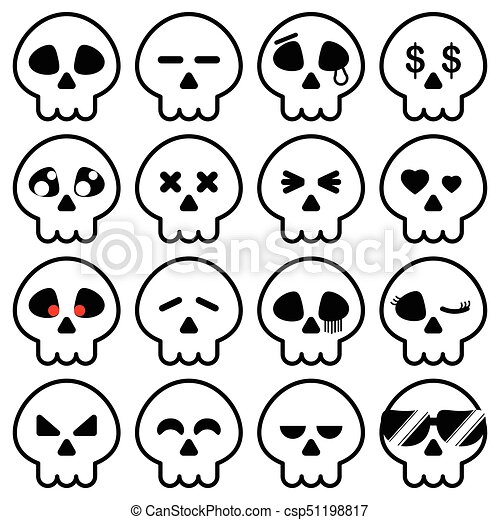 Simple line of halloween skeleton head icon in variety emotion for ...