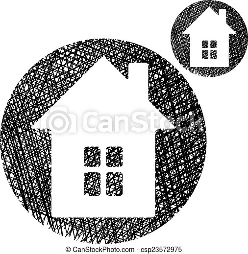 Simple Maison Couleur Isolée Unique Fond Blanc Icône