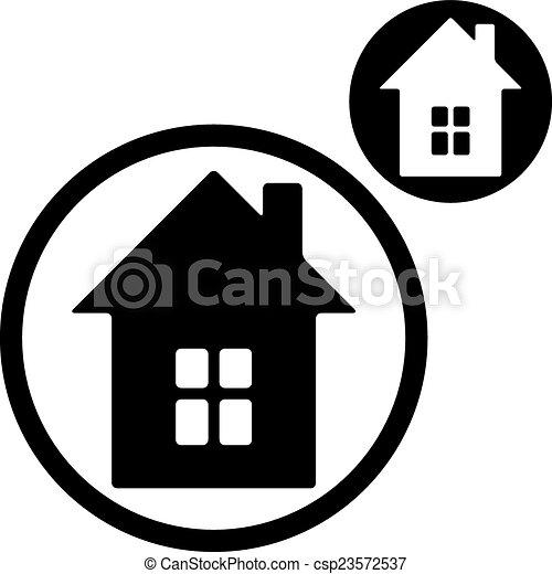Simple Maison Couleur Isolée Unique Fond Blanc Icône Inc